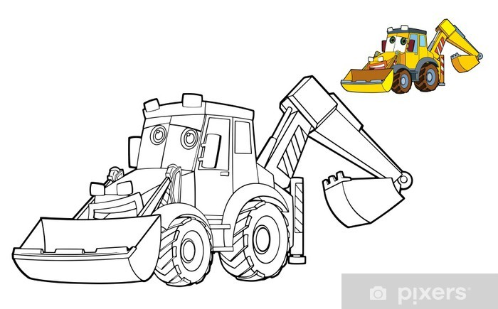 Coloring Page Excavator Illustration For The Children Wall Mural