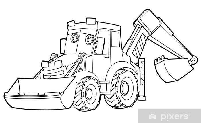 Disegni Da Colorare Per Bambini Escavatori.Adesivo Disegno Da Colorare Escavatore Illustrazione Per I Bambini Pixerstick