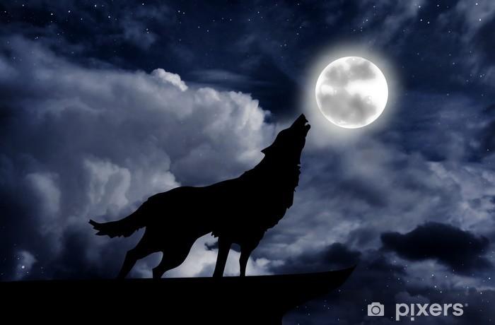 Papier Peint Loup Hurlant à La Pleine Lune