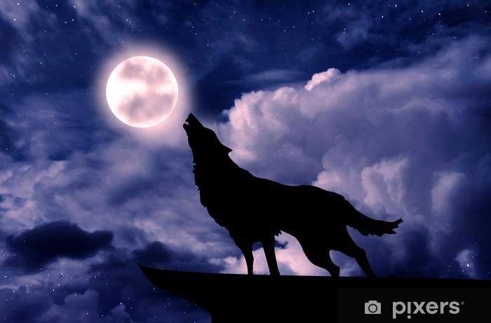Fotomural Lobo Aullando A La Luna Llena Pixers Vivimos Para Cambiar
