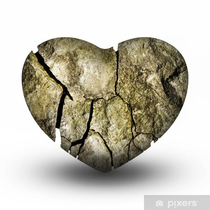 Naklejka Pixerstick Pęknięty Kamień Serca (Złamane serce) - Szczęście