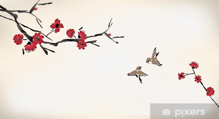 Papier peint vinyle Peinture de fleurs - Styles