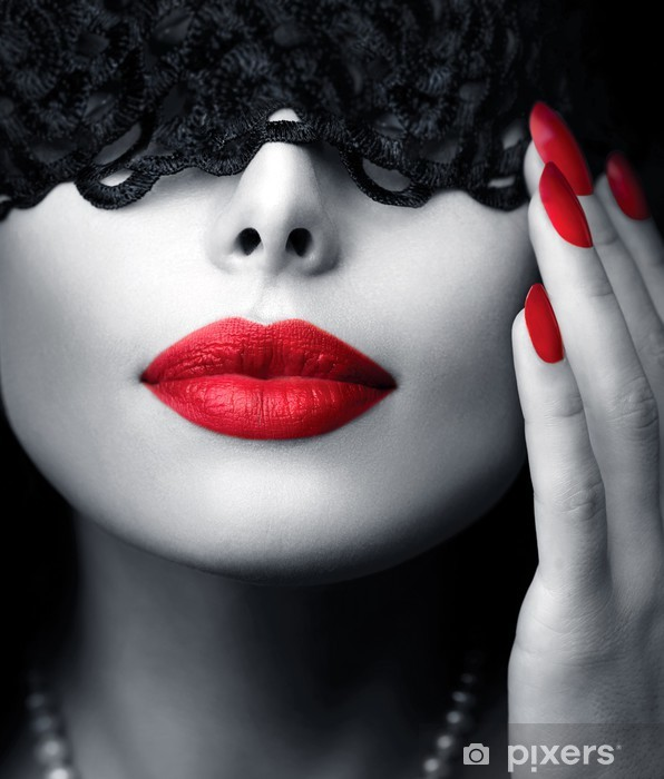 Beautiful Woman with Black Lace Mask over her Eyes Vinyl Wall Mural - Styles