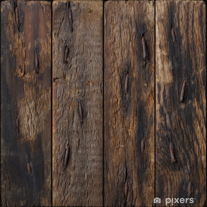 Dark rustic wooden planks with rustic nails background ...