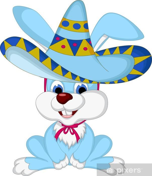 Adesivo Cartone animato divertente del coniglio in posa con cappello da  cowboy Pixerstick 72ef0212c950