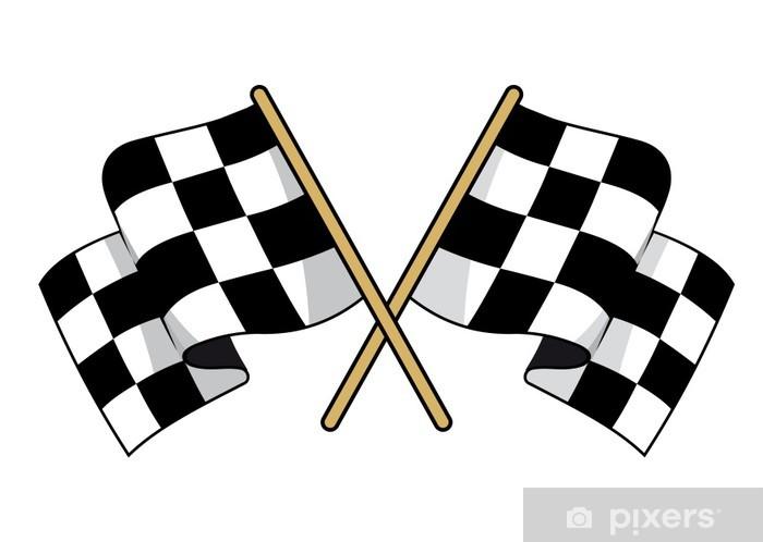 Fotomural Banderas a cuadros blancos y negros cruzados • Pixers ...