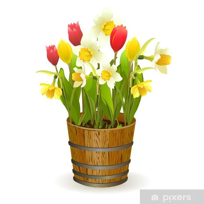 Fototapeta winylowa Wiosenne kwiaty w beczce - Kwiaty