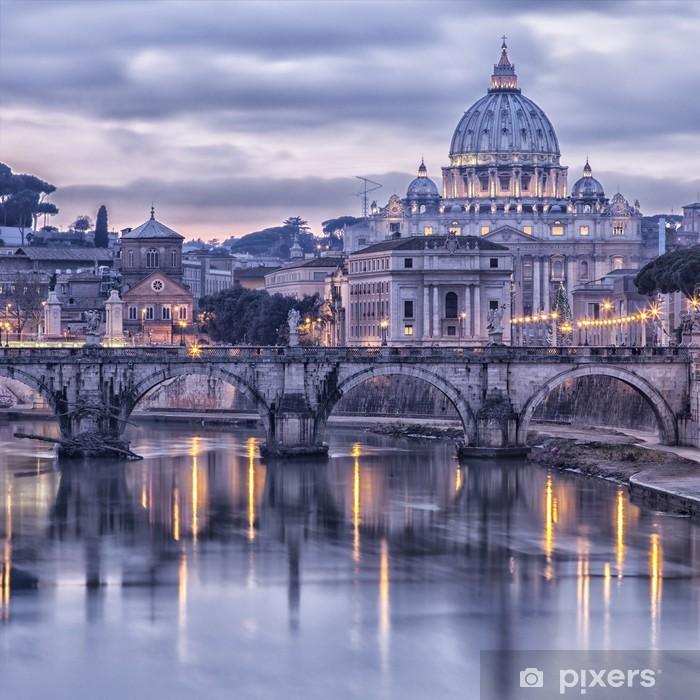 Vinyl Fotobehang Rome en de rivier de Tiber in de schemering -