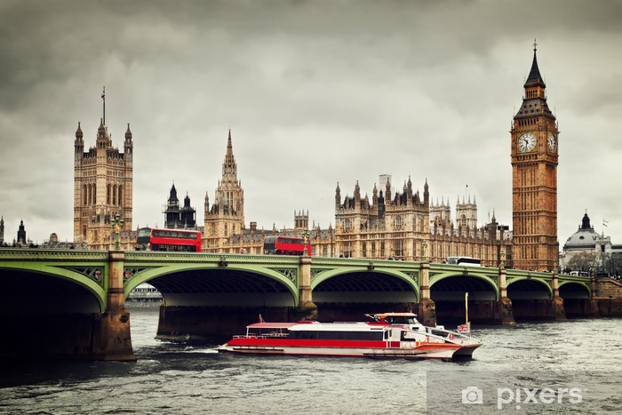 London, the UK. Big Ben, the River Thames, red buses and boat Pixerstick Sticker - Themes