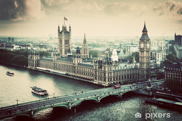 London, the UK. Big Ben, the Palace of Westminster. Vintage Pixerstick Sticker - Themes