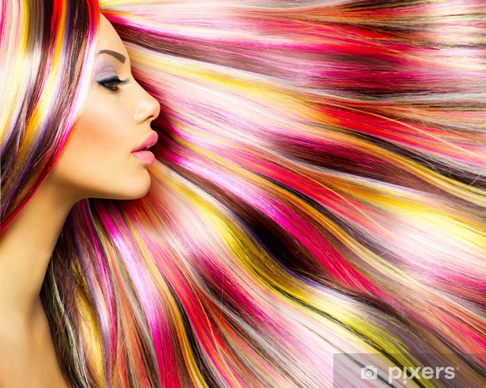 Beauty Fashion Model Girl with Colorful Dyed Hair Vinyl Wall Mural - Fashion