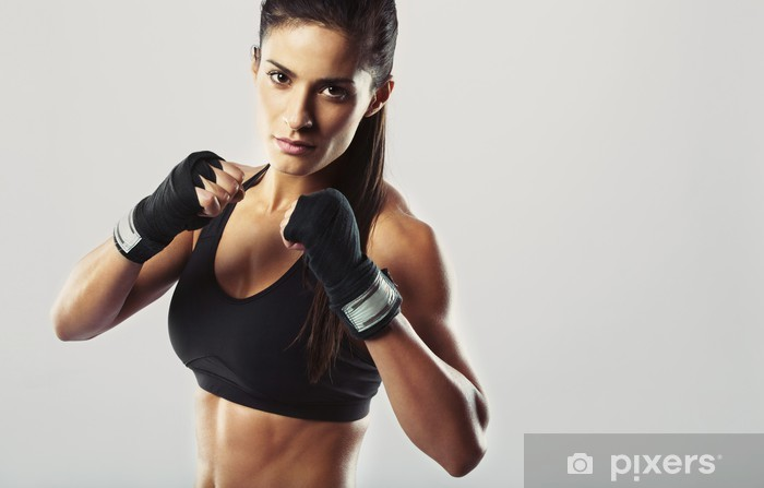 Female fighter posing in combat pose Pixerstick Sticker - Themes