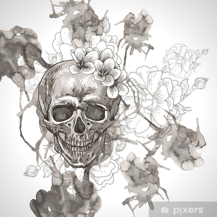 Abstract Background with Skull, Wings and Flowers Pixerstick Sticker - Flowers