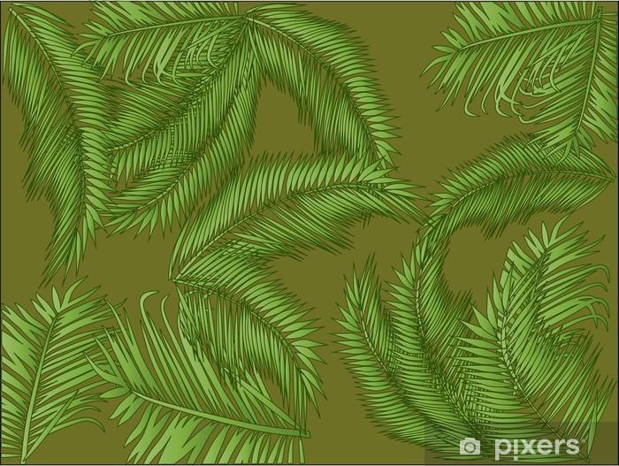 Vinilo Pixerstick Follaje de la palma en el fondo verde - Plantas