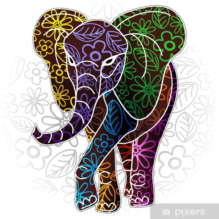 Naklejka na biurko i stół Batik słoń Floral Design Art - Naklejki na ścianę