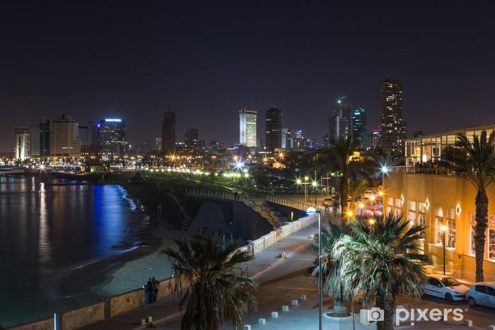 Papier peint vinyle Tel aviv à vue panoramique de nuit - Moyen Orient