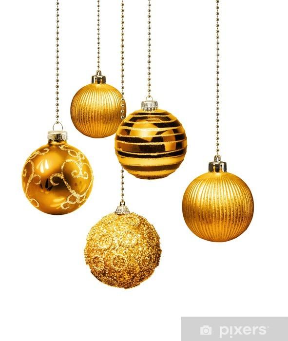 Goldene Weihnachtskugeln.Fototapete Goldene Weihnachtskugeln