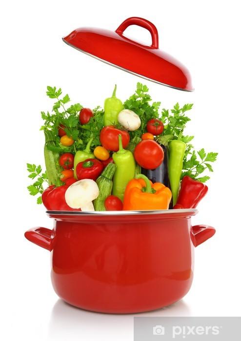Papier peint vinyle Colorful légumes dans une marmite rouge -