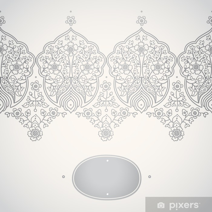 Vintage seamless border with lacy ornament. Poster - Signs and Symbols