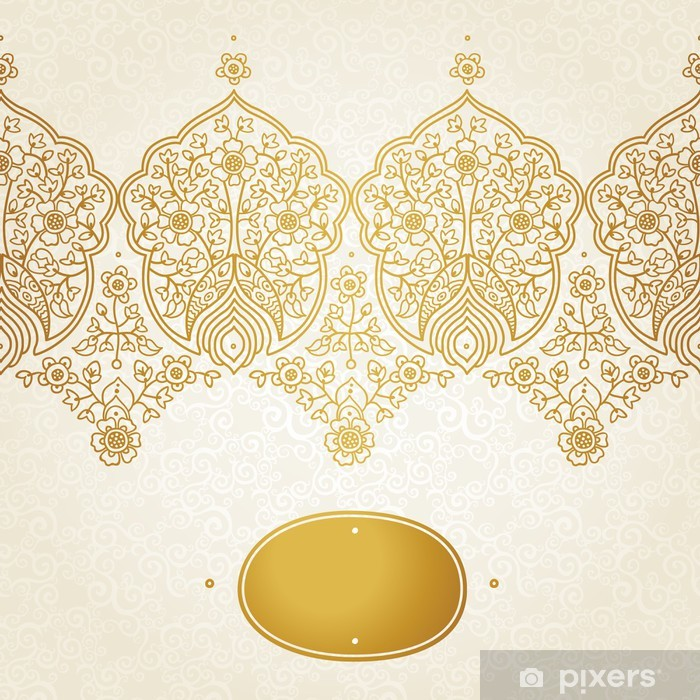 Naklejka Pixerstick Rocznika powtarzalny granicy z koronkowym ornamentem. - Znaki i symbole