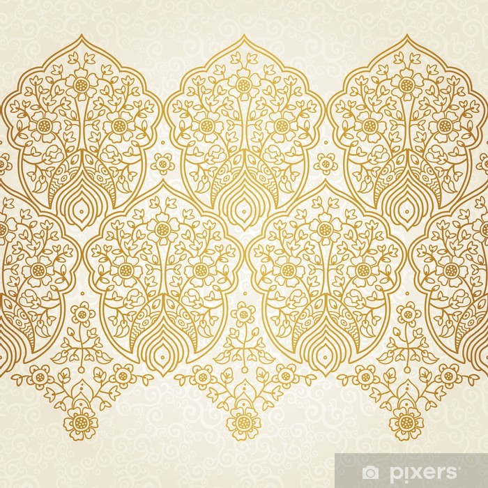 Naklejka Pixerstick Rocznika powtarzalny granicy z koronkowym ornamentem. -