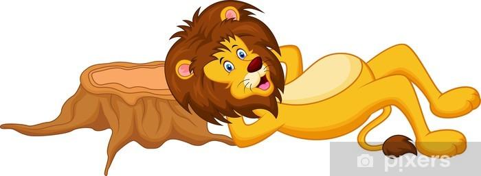 Naklejka Pixerstick Lion cartoon śpi - Ssaki