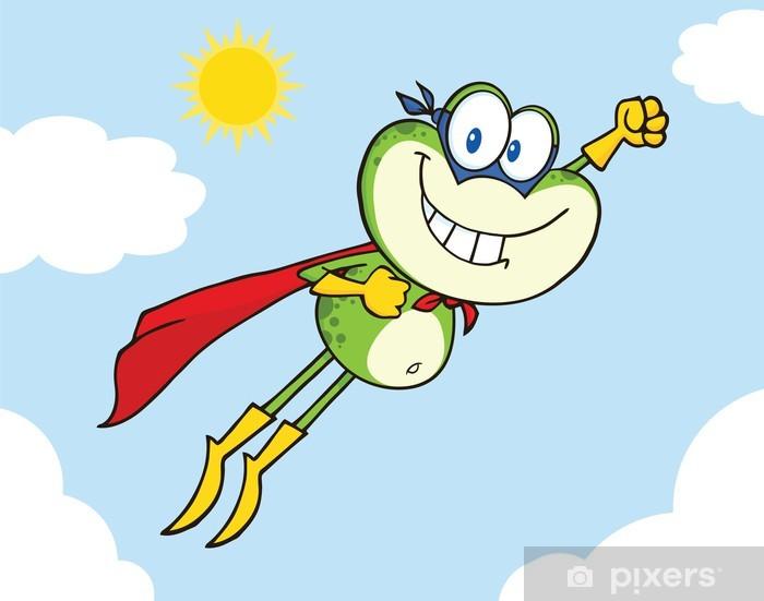 Nálepka Pixerstick Frog Superhero Kreslená postavička létání v oblacích - Štěstí