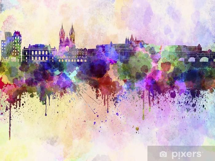 Praha horisontti vesiväri taustalla Vinyyli valokuvatapetti - Prague