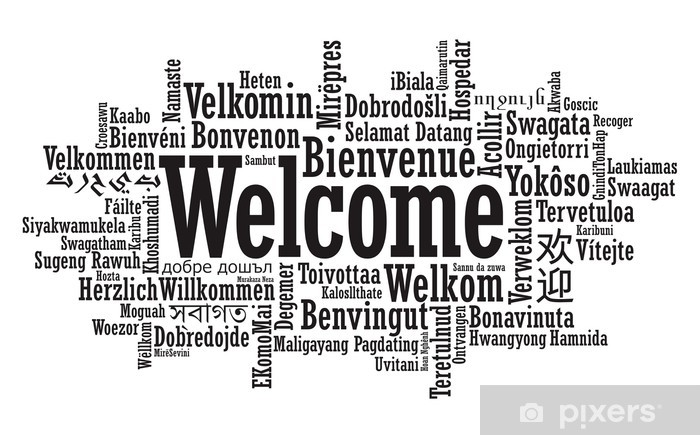 Welcome Word Cloud illustration in vector format Pixerstick Sticker - Signs and Symbols