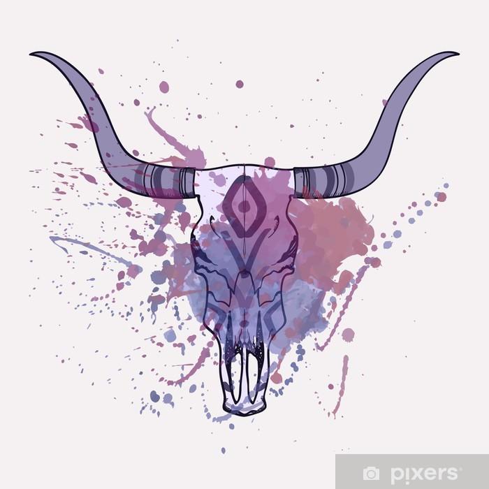 Sticker Pixerstick Vector illustration de taureau crâne avec l'aquarelle éclaboussures - Styles