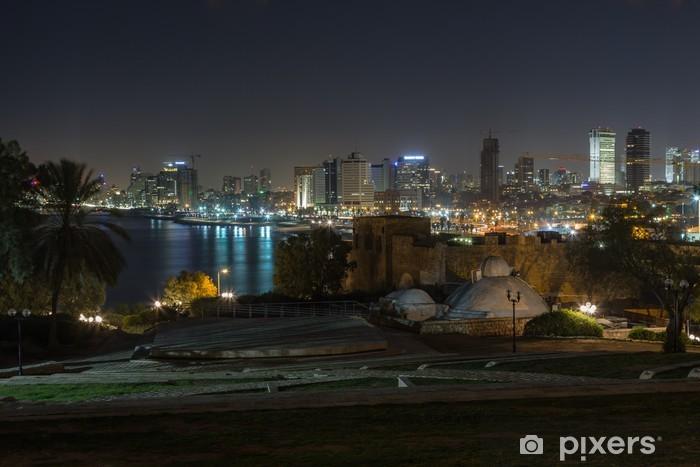 Vinilo Pixerstick Tel Aviv en la noche vista panorámica desde Jaffa - Oriente Medio