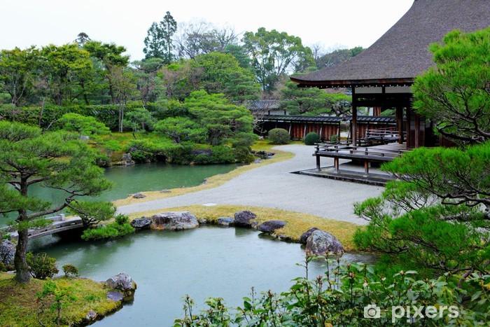 Sticker pour porte Jardin japonais avec étang