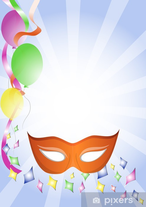 Fototapeta Pomarańczowe Tło Maski Karnawałowe Konfetti I Balony Pixers żyjemy By Zmieniać