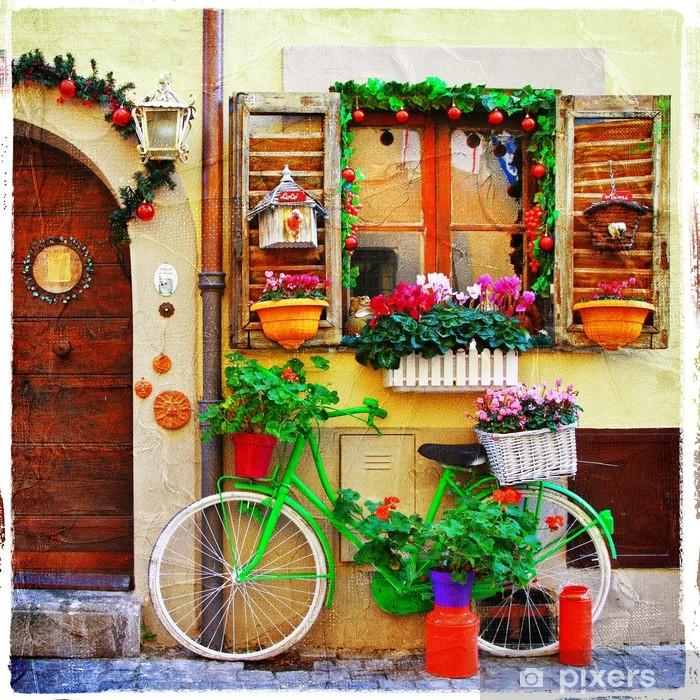 Ingelijste Poster Mooie straatjes van kleine Italiaanse dorpen - Thema's