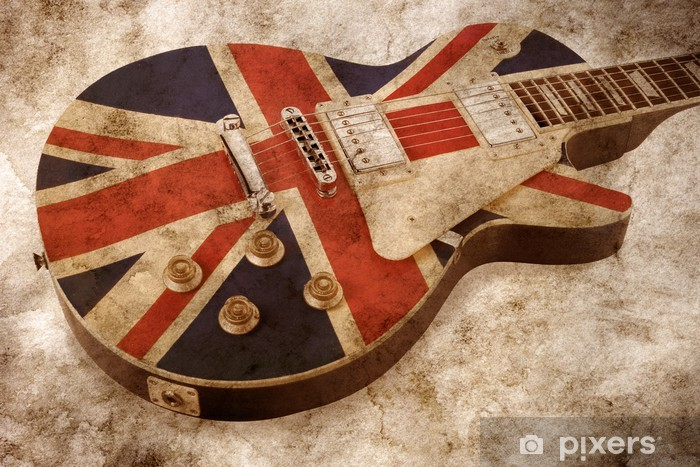 Pixerstick Sticker Grunge brit pop gitaar - Rock