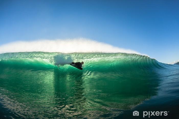 Surfing Bodyboarder Inside Hollow Wave Colors Pixerstick Sticker - Individual Sports