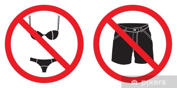 35b1107030b8 Adesivo Pixerstick Nessun brevi pantaloni segno, nessun segno costume da  bagno - Segni e Simboli