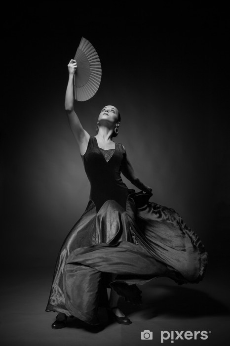 Vinilo Pixerstick Foto en blanco y negro de la joven mujer bailando flamenco - Mujeres