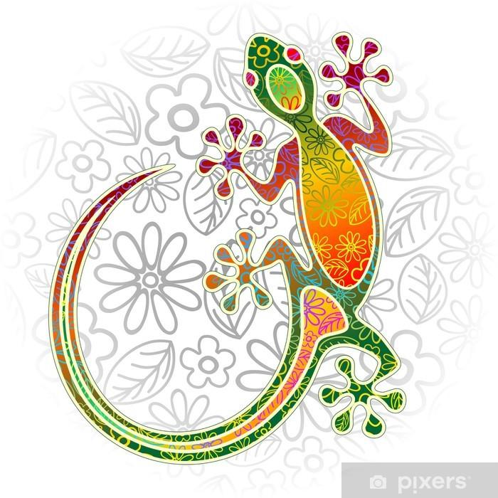 Sticker Pixerstick Gecko Art floral tribal - Autres Autres