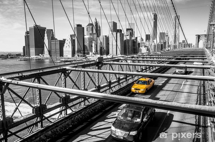 Taxi cab crossing the Brooklyn Bridge in New York Pixerstick Sticker -