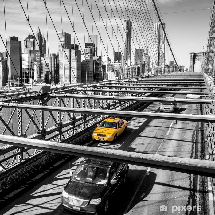 Naklejka Pixerstick Taxi cab przekroczeniu mostu Brooklynie w Nowym Jorku -