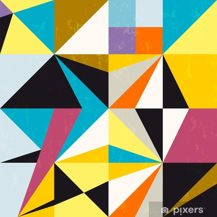 abstract background, with triangles and squares, grungy Pixerstick Sticker - Styles
