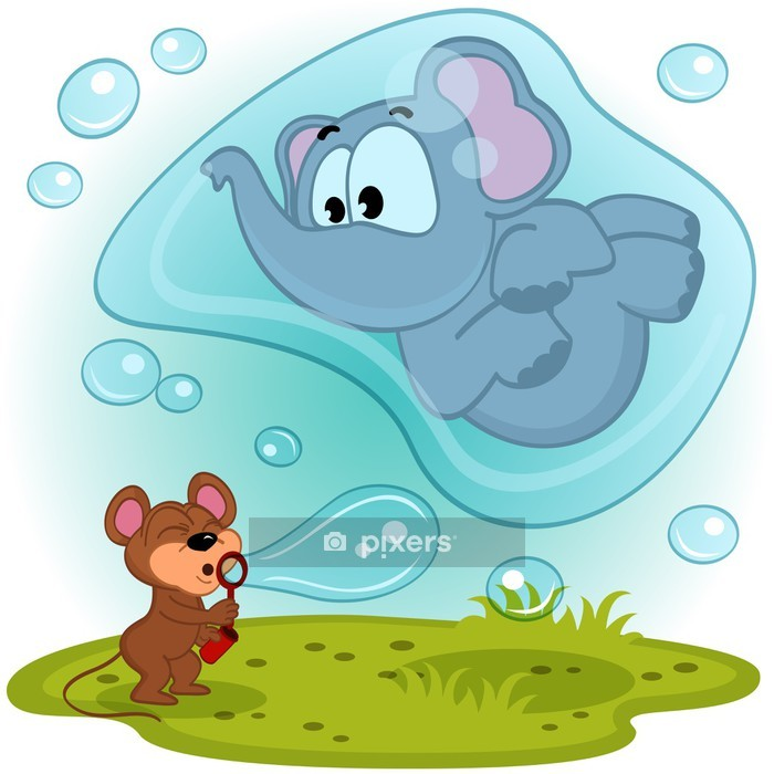 Wandtattoo Maus Und Elefant Blase Geblase Vektor Illustration Pixers Wir Leben Um Zu Verandern