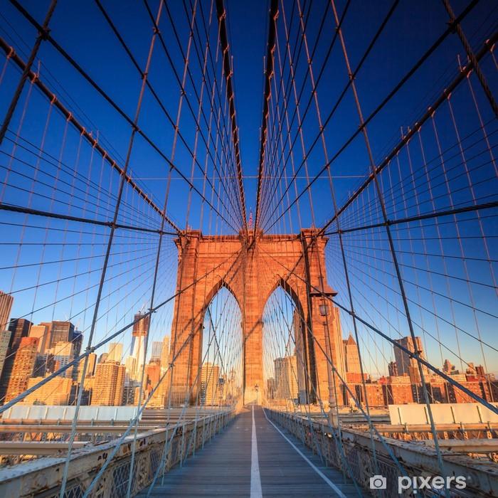 Afwasbaar Fotobehang Brooklyn Bridge bij zonsondergang - Thema's