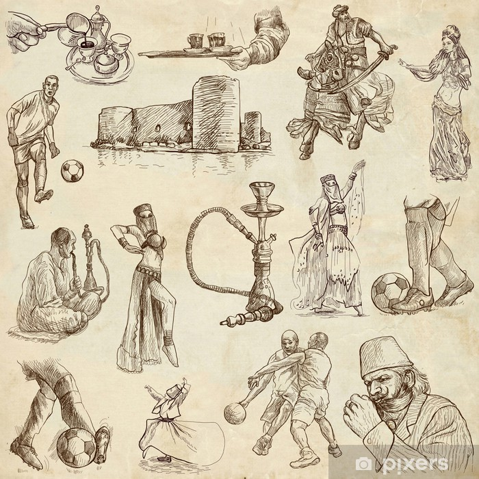 Naklejka Pixerstick Podróżując serii: TURKEY_2 - rysunki ręczne na papierze - Azja