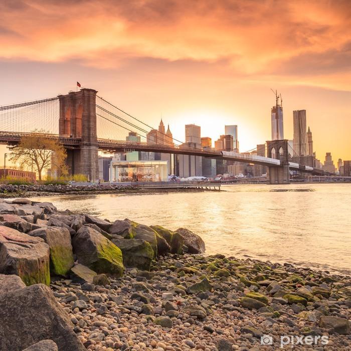 Vinilo Pixerstick Puente de Brooklyn al atardecer - Temas