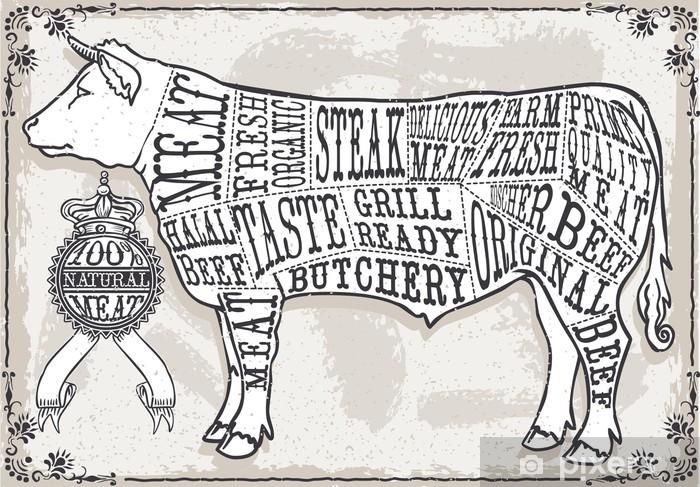 Fototapeta winylowa Vintage Pastel Strona cięcia wołowiny - Ssaki
