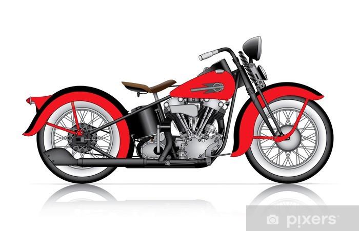 Sticker Pixerstick Moto classique rouge - Sur la route