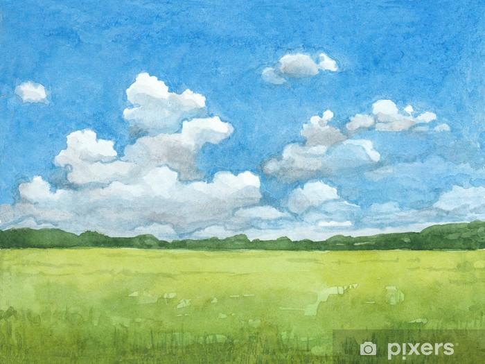 Carta da Parati in Vinile Acquerello illustrazione del paesaggio rurale - Temi