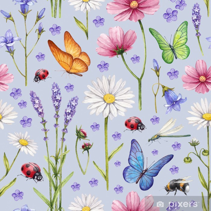 Wild flowers and insects illustration. Watercolor summer pattern Vinyl Wall Mural - Themes